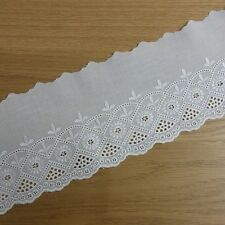1Yard  Cotton Eyelet Lace Trim3.6 Inch(9.5cm) Wide doll Flowers White doll Dress