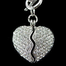 Twinkling Broken Heart USE Austrian Crystal 18K White Gold-Plated Necklace