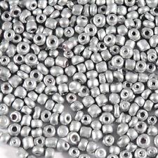 Perles de Rocailles en verre Opaque 2mm Argenté 20g (12/0)