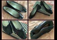 Delman Black Patent Brown Soft Leather Bow Slip On Loafer Size 7 Shoes in Box
