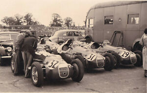 HWM RACING TEAM IN PADDOCK, CARS No.32, 31 & 29, AT SILVERSTONE. PHOTOGRAPH.
