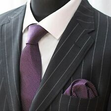 Tie Neck tie with Handkerchief Purple with White Spot