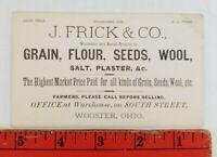 Vintage 1900 Grain Flour Seeds Wool South Street Wooster Ohio Business Card