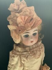 New ListingW2� Antique Pink Leather German Bisque Doll