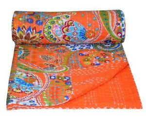 Indian Vintage Reversible Handmade Kantha Quilt Throw Bedspread Blanket Decor