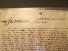 HAXO MODELE ORIGINAL DECALS FOR TRAINS PLANCHE DECALQUES ORIGINALES PTT SNCF HO