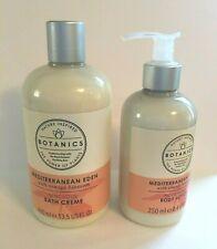 Botanics Mediterranean Eden Bath Cream 13.5 Oz & Body Lotion 8.4 Oz, Lot of 2