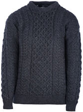 Mens Crew Neck Merino Wool Sweater by Aran Mills - Charcoal
