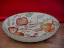 Large American Atelier Serving Bowl Dish Cream Fruit Apple Pear Accents C25