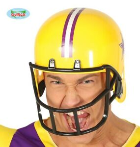 Mens American Football Fancy Dress Helmet Yellow New fg.
