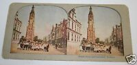 Vintage Antique Rare 1900's Street Scene & Cathedral Holland Photo Stereoview