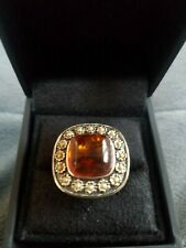 Frame Ring, Size 9 Unique Sterling Silver Baltic Amber Flower