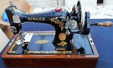 BEAUTIFUL VINTAGE 1923 SINGER SEWING MACHINE in ORIGINALE SINGER CUSTODIA IN LEGNO
