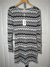 NEW Cotton by Autumn Cashmere Gray Zigzag Flame Stitch Sweater Dress L NWT