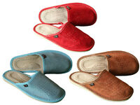 Women's Suede Leather Slippers Slip On Slides Mules Flats Scuffs US Size 6 - 10