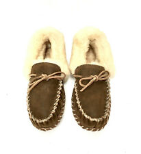 NEW LL Bean Womens Wicked Good Slippers Original Moccasins Suede Shearling 8 M