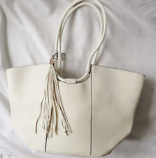 BNWT NEXT X LARGE ecru ivory leather tassle shopper shoulder  bag RRP38