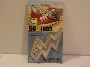 J Shwings Shoe Sneaker Rollerskate Lace Decoration Silver Lightning Bolt Wings