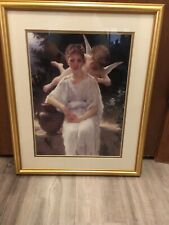 Vintage Home Interiors Cherub & Young Girl Picture - Pre owned