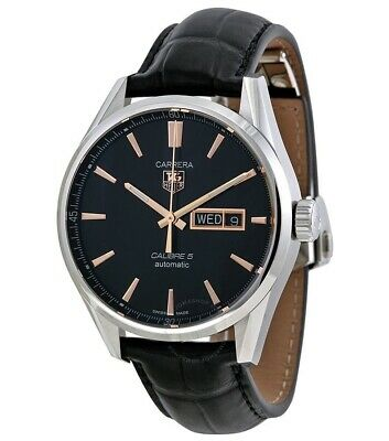TAG Heuer CARRERA CALIBRE 5 DAY-DATE * Automatic Black/Rose Gold ~No Tag~