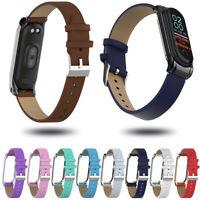 Strap Metal Frame Replacement Wristband PU Leather Band For Xiaomi Mi Band 4 3
