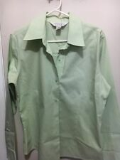 Casual Corner Annex Woman Green long sleeve Collared Button down Shirt Size PM