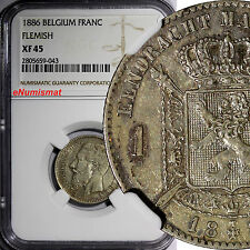 Belgium Leopold II Silver 1886 Franc Flimish NGC XF45 KEY DATE SCARCE KM# 29.1