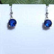 Drop Earrings Lab Blue Spinel 925 Sterling Silver 8mm