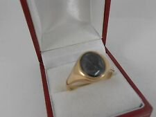 9ct YELLOW GOLD SIGNET RING HEMATITE INTAGLIO SIZE Y