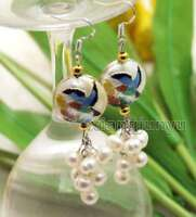 6-7mm White Round Natural Pearl with 18mm White Cloisonne Dangle earring-ear588