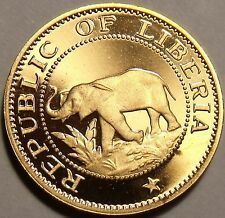 Rare Proof Liberia 1968 Cent~Only 14,396 Minted~Elephant Coin~Free Shipping
