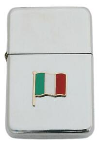 Italian Flag Petrol Lighter Windproof with Free Engraving Gift 483