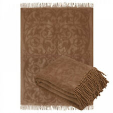 67 x 79 in Camel Wool Brown Throw Blanket