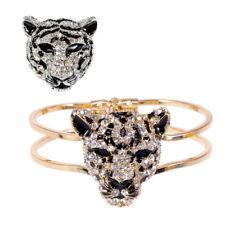 Fashion Gold Silver Crystal Rhinestone Black Enamel Cheetah Face Brooch + Bangle