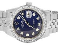 Mens Rolex Datejust 36MM Stainless Steel Jubilee Blue Dial Diamond Watch 2.5 Ct