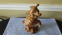 PAIR OF SEA TURTLE FAUX WOOD CARVING FIGURINE OCEAN TORTOISE