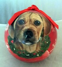 E&S Pets Holiday Christmas Ornament Ball Shatterproof New Puggle Dog