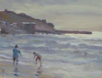 "ORIGINAL MICHAEL RICHARDSON OIL ""Paddlers, Sennen Cove, Cornwall"" Beach PAINTING"