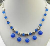 """LOVELY NATURAL BLUE SAPPHIRE ROUND BEADS PENDANTS & TIBET SILVER NECKLACE 18"""""""