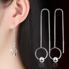2017 Ladies Jewelry 925 Sterling Silver Tassel Hoop Bead Threader Earrings Gifts