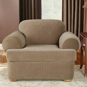 Stretch Pinstripe Two Piece  T-Chair Slipcover Taupe new