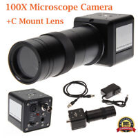 100X Industrial Digital Microscope Camera BNC PAL AV TV Video Zoom+C Mount Lens