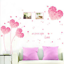 Love at First Sight Wall Sticker Creative Wall Paper Removable Pink Heart Flower
