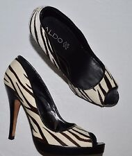 ALDO SZ 6 M 37 WHITE BROWN ZEBRA PRINT CALF HAIR OPEN TOE PLATFORM PUMPS