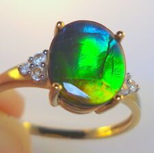 11mm x 9mm Natural Multi Coloured AA Ammolite Gold Ring