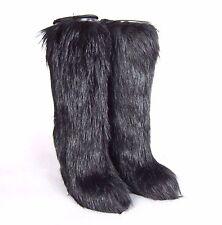 K-PD3134 New Prada Knee High Black Heels Ladies Leather Boots Fur Size 40 10