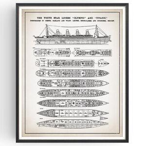 Titanic Plan Patent Print Blueprint Shipwreck Decor Vintage Poster Wall Art Gift