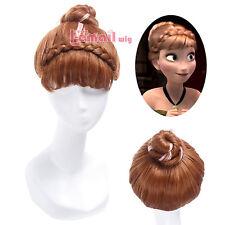 USA Ship Girl Froze Anna Coronation 25cm Short Brown Mixed Pink Cosplay Wig CW03