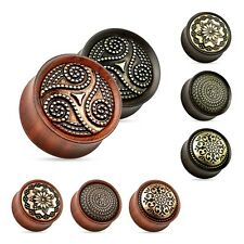 Flesh Tunnel Plug Organic Holz Sattel Fit Ohr Piercing Double Flared Ear Tube