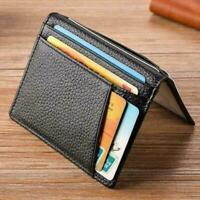 Men Slim Thin Genuine Leather Bifold Id Wallet Money Credit Card  Holder Sell
